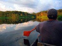 Anfahrt mit dem Kanu in die Siona Lodge