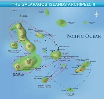 Kreuzfahrtrouten A & B - Galapagos First Class Katamaran Archipell II