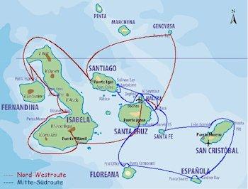 Galapagos Kreuzfahrt Routen - Galapagos Segelyacht Beagle