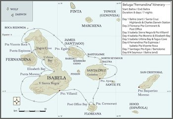 Fernandina Itinerary - Galapagos Kreuzfahrt Yacht Beluga