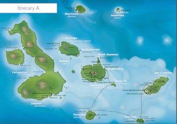 Kreuzfahrt Route A - Galapagos Kreuzfahrt Yacht Galaxy