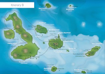 Kreuzfahrtroute B Galaxy - Galapagos Kreuzfahrt Yacht Galaxy