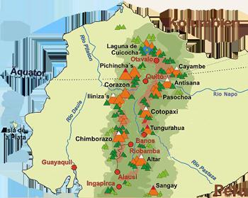 Karte Strasse der Vulkan Ecuador