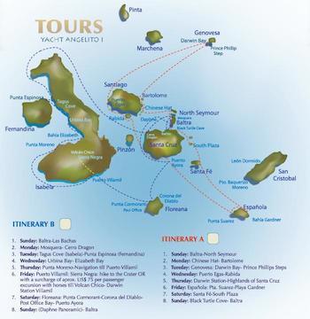 Kreuzfahrtrouten Galapagos Kreuzfahrt Yacht Angelito