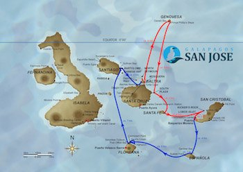 Kreuzfahrtroute B - Galapagos Kreuzfahrt Yacht San José
