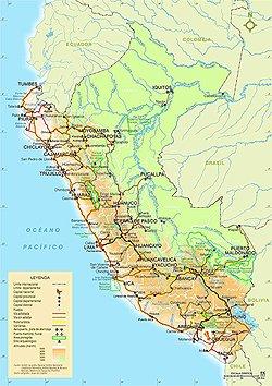 Landkarte Peru Reisen