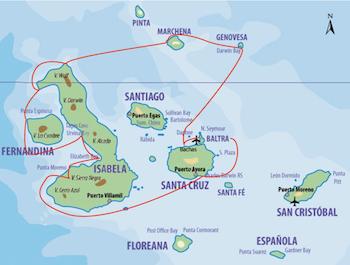 Galapagos Kreuzfahrt Route A - Motorsegler Samba