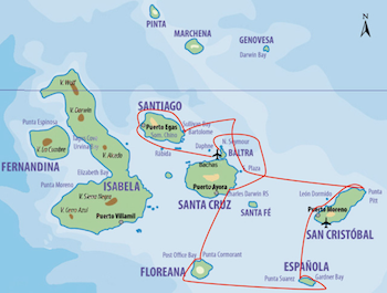 Galapagos Kreuzfahrt Route B - Motorsegler Galapagos Samba