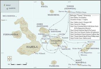 Tower Itinerary - Galapagos Kreuzfahrt Yacht Beluga