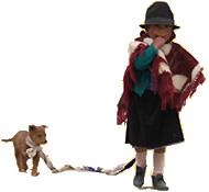 Ecuador Galapagos Reisen - Mädchen mit Hund in Quilotoa