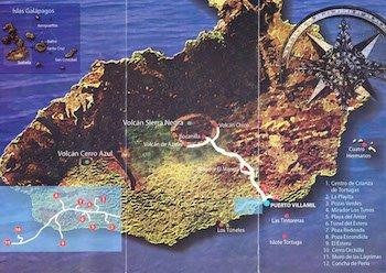 Karte zur Walking Galapagos Reise
