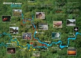 Karte zum Reiseverlauf der Amazonas Kreuzfahrt auf der Cattleya Journey