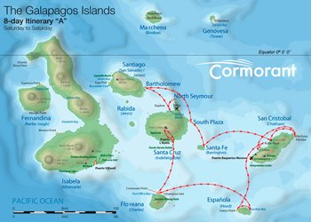 Kreuzfahrtroute A Cormorant - Galapagos Kreuzfahrt