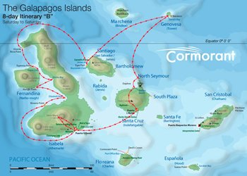 Galapagos Kreuzfahrtroute B Cormorant