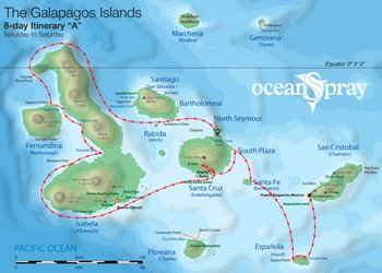 Galapagos Kreuzfahrt Route A Ocean Spray