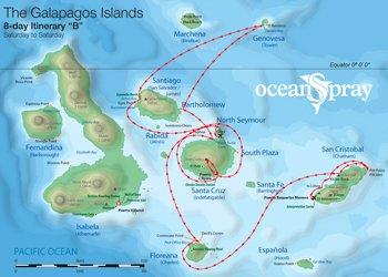 Galapagos Kreuzfahrt Route B Ocean Spray