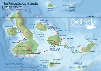 Galapagos Route A - Galapagos Kreuzfahrt Katamaran Petrel