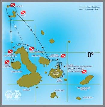 Tauchkreuzfahrt Galapagos Route - Tauchkreuzfahrt Yacht Galapagos Aggressor III