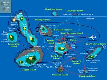 Galapagos Kreuzfahrtroute - Galapagos Sea Star Journey