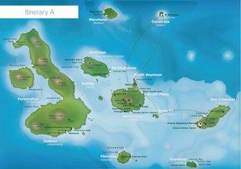 Galapagos Kreuzfahrt Route A - Galapagos Galaxy Katamaran