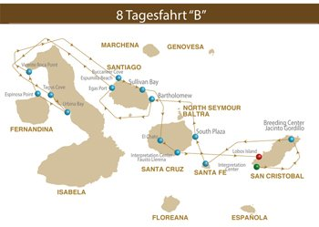 Kreuzfahrtroute B Majestic Galapagos Kreuzfahrt Yacht