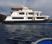 Galapagos Kreuzfahrt Katamaran Petrel - seitlich