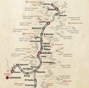 Reiseroute Zugreise durch Ecuador mit dem Tren Crucero