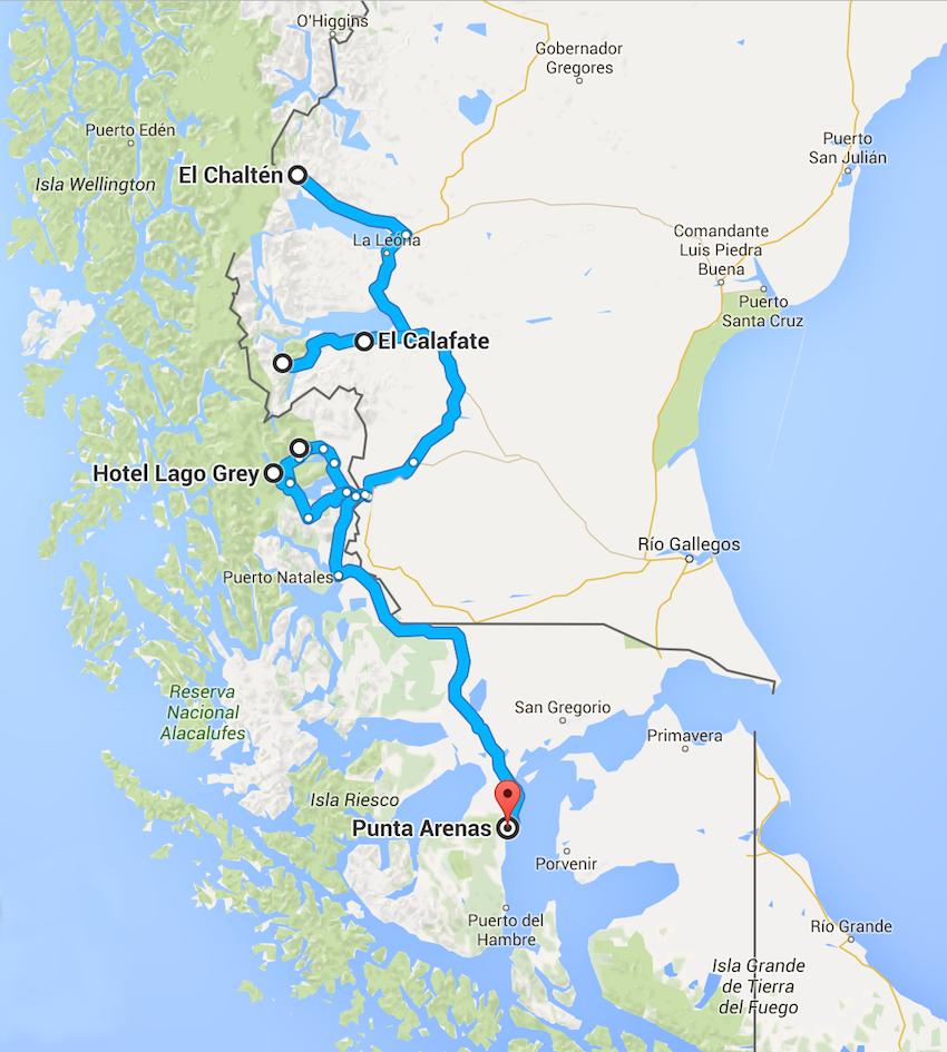 patagonien karte Mietwagenreise Patagonien zu den Höhepunkten Patagoniens