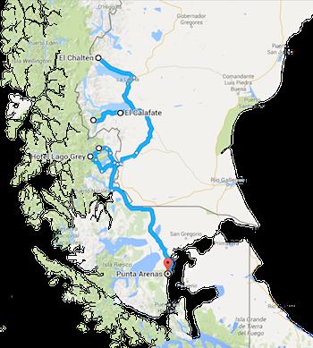 Karte Mietwagenreise Patagonien