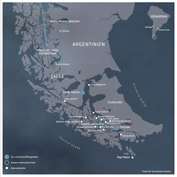 Karte Patagonien Reisen mit deutschsprachigem Guide
