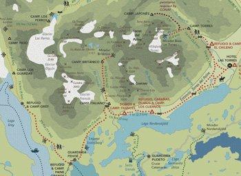 Karte W-Trek - Torres del Paine