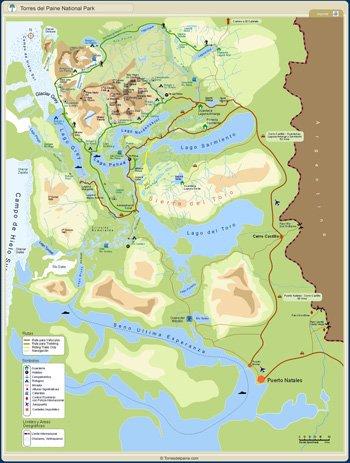 Karte Torres del Paine - Patagonien