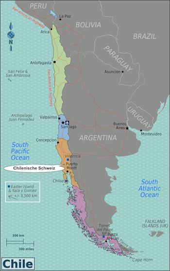 Karte Chile - Chilenische Schweiz