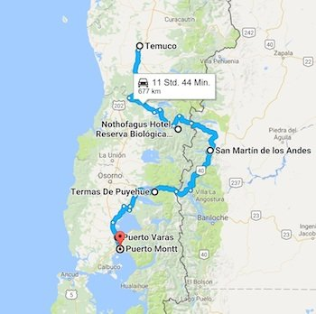 Karte Mietwagenreisen Huilo Huilo