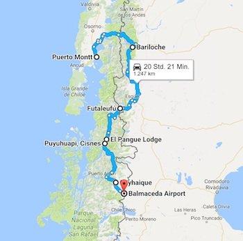 Karte Mietwagenreise Nördliche Carretera Austral