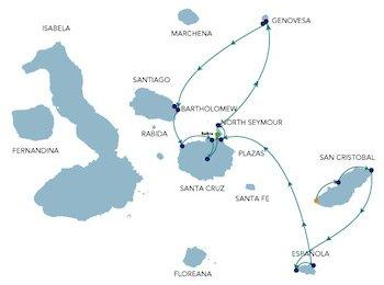 Galapagos Kreuzfahrtroute A Alia