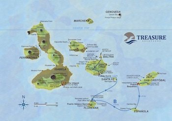 Route B Treasure of Galapagos Map