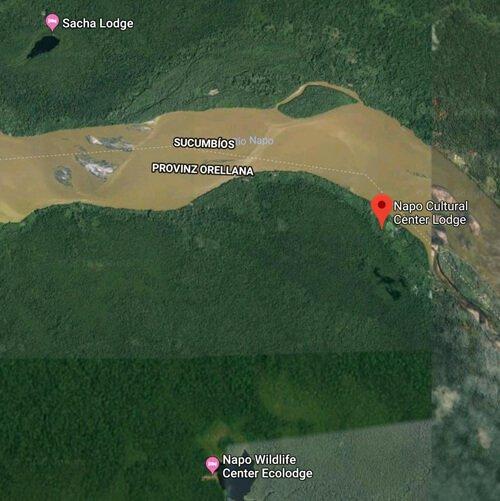 Karte Napo Cultural Center Amazonas Ecuador