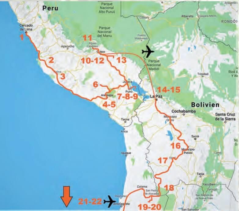 Reiseroute Peru, Bolivien & Chile